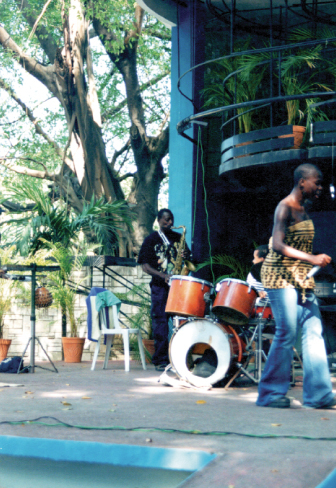 Lazarus in Cuba, performing with Toronto poet and singer D'bi Young.